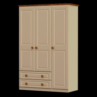 26    Triple Wardrobe 3 Door 2 Drawer H188cm W120cm D53cm