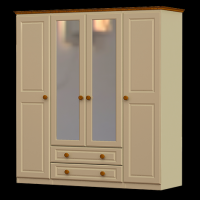 28    Wardrobe 4Door  2 Drawer  2 Mirror H188cm W160cm D53cm