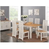 04- Painted Cream - Oak Dining Set
