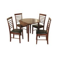 01- Round drop leaf dining set - Colour - Dark