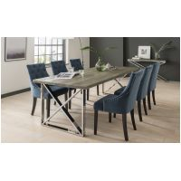 01 VL Tempa Dining Table 3 sizes 2300mm 1900mm 1400mm with Midnight Velvet Chairs